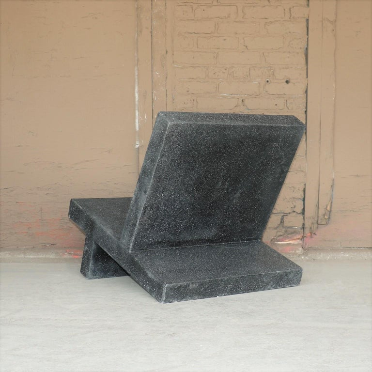 Cast Resin 'Wavebreaker' Lounge Chair, Coal Stone Finish by Zachary A. Design In New Condition For Sale In Chicago, IL