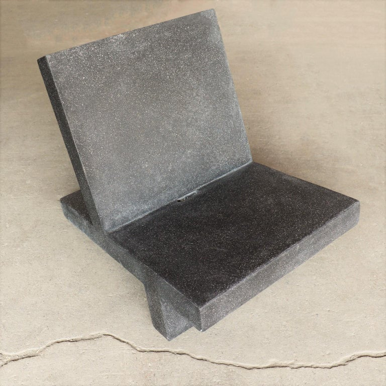 Contemporary Cast Resin 'Wavebreaker' Lounge Chair, Coal Stone Finish by Zachary A. Design For Sale