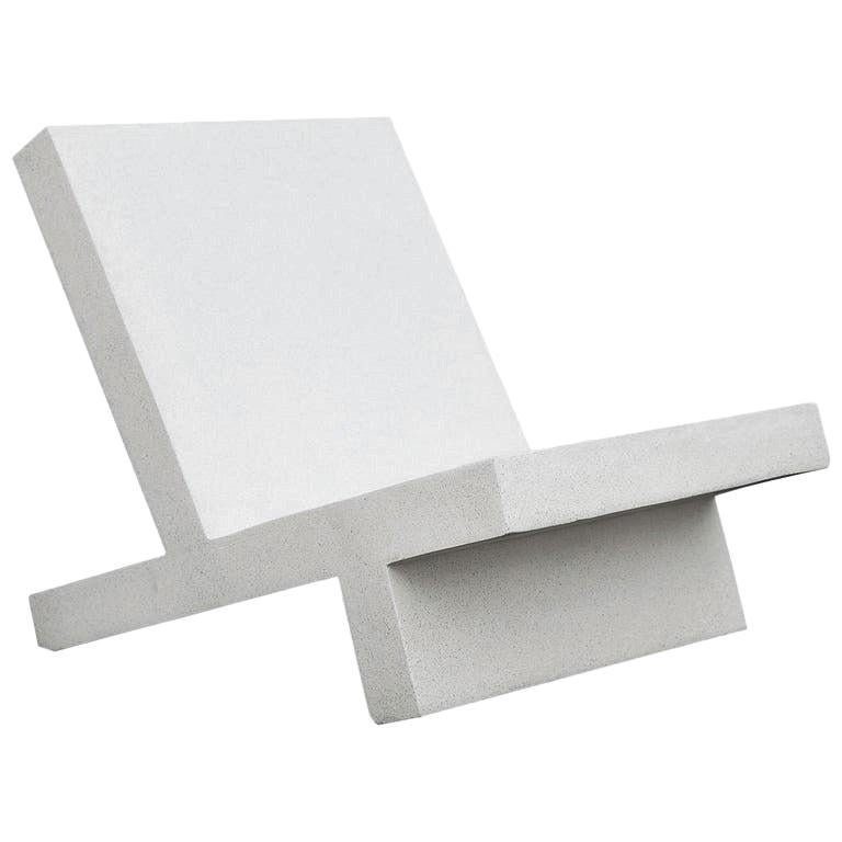 Cast Resin 'Wavebreaker' Lounge Chair, White Stone Finish by Zachary A. Design