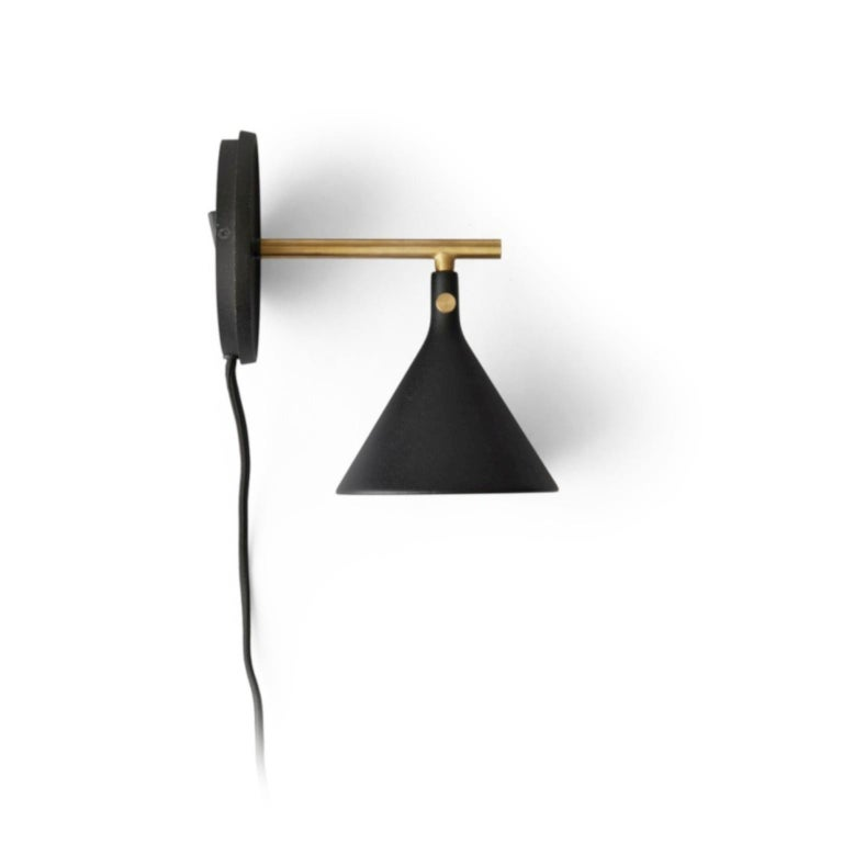 Scandinavian Modern Cast Sconce Wall Lamp, Black by Thomas Chung & Jordan Murphy For Sale