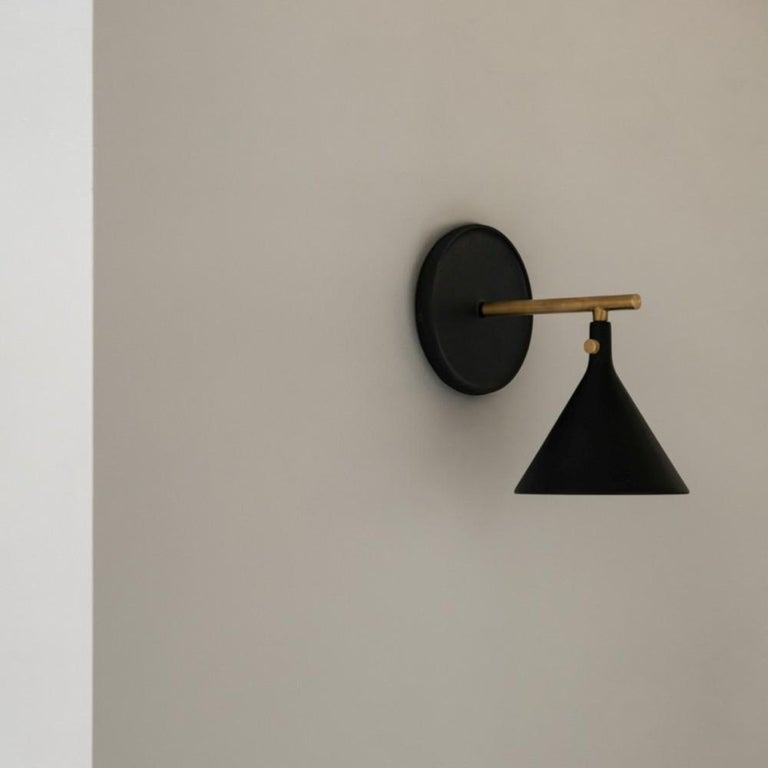 Brass Cast Sconce Wall Lamp, Black by Thomas Chung & Jordan Murphy For Sale
