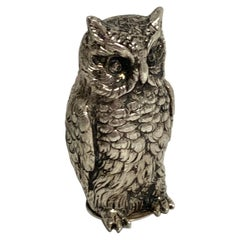 Cast Silver '.800' Owl Spice Box