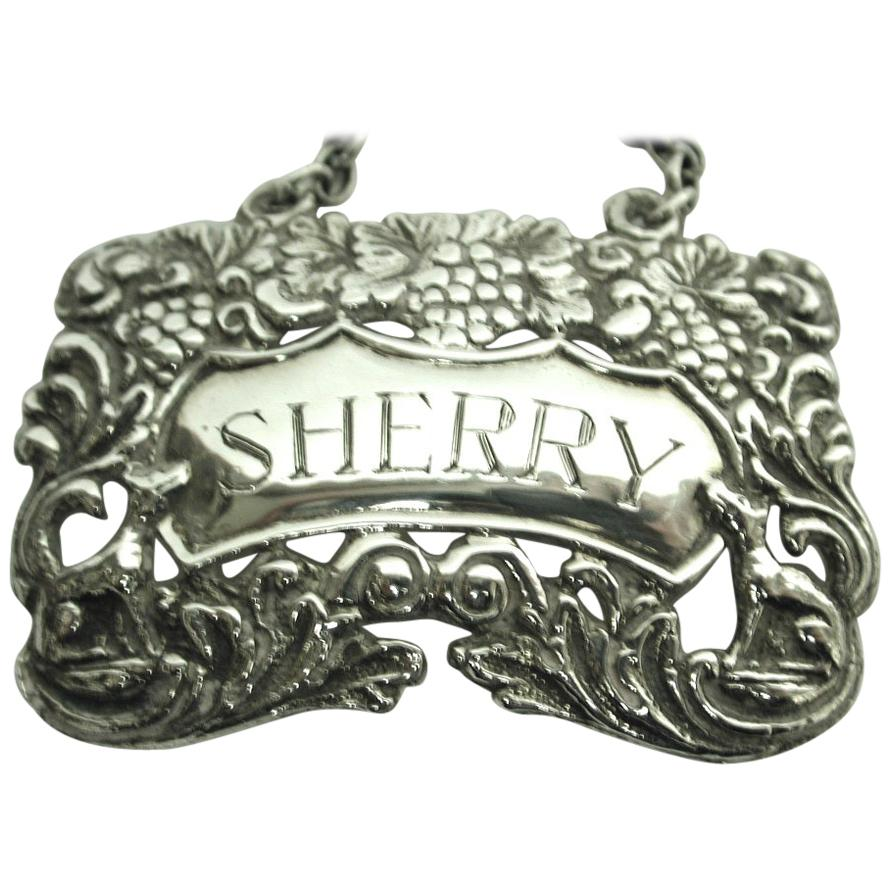 Cast Silver Sherry Label with Grape and Vine and Foxes, Dated 1967, London