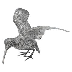 Cast Sterling Silver Model of a Snipe by Ludwig Nereshiemer, London, 1929