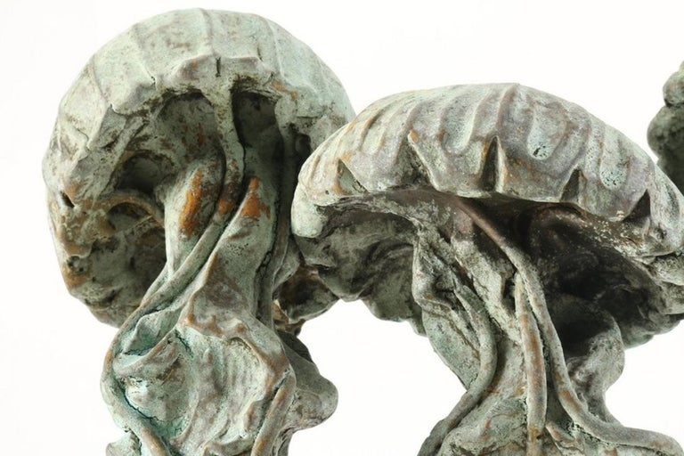 Mid-Century Modern Cast Stone and Bronze Jellyfish Sculpture by Listed Artist Attila Tivadar For Sale