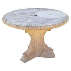 Cast Stone Center Table on Triangular Base with Decorative Elements, circa 1960s