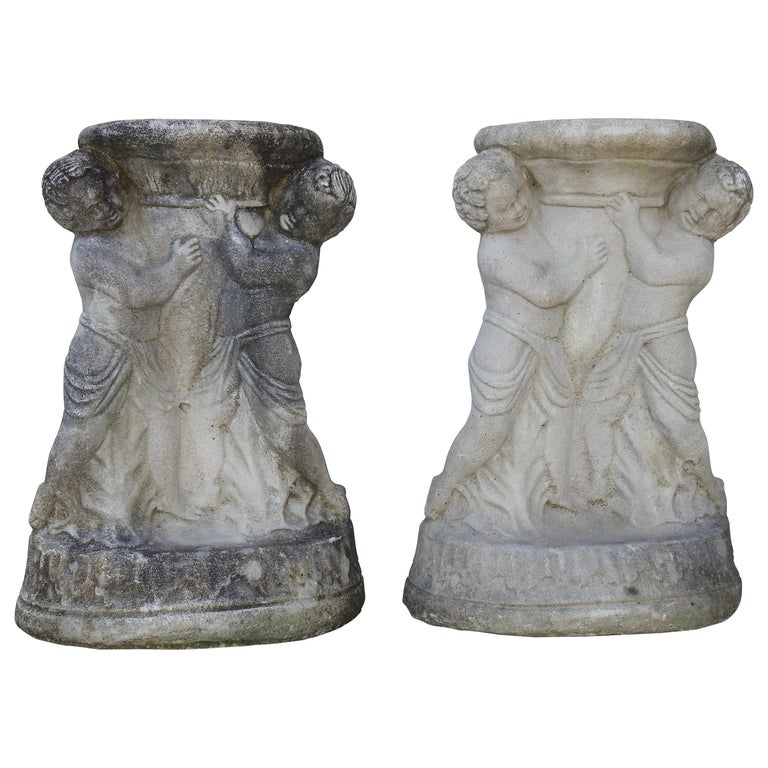Cast Stone Cherub Pedestals Pair For Sale