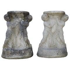 Cast Stone Cherub Pedestals Pair