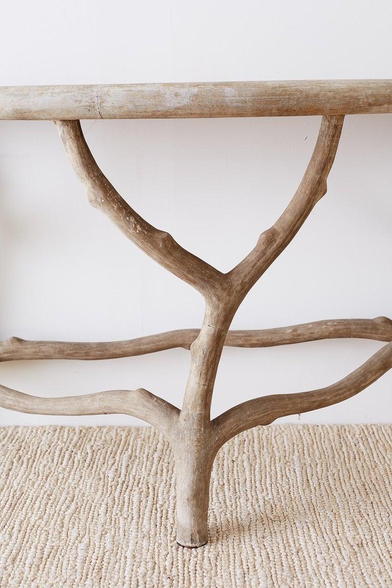 Cast Stone Concrete Faux Bois Demilune Console Table At