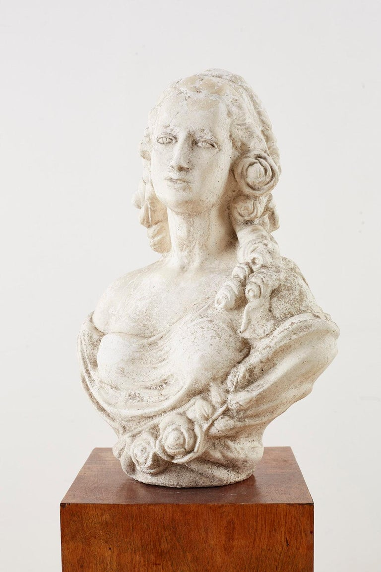 Cast Stone Garden Bust Sculpture of Marie Antoinette For Sale 3
