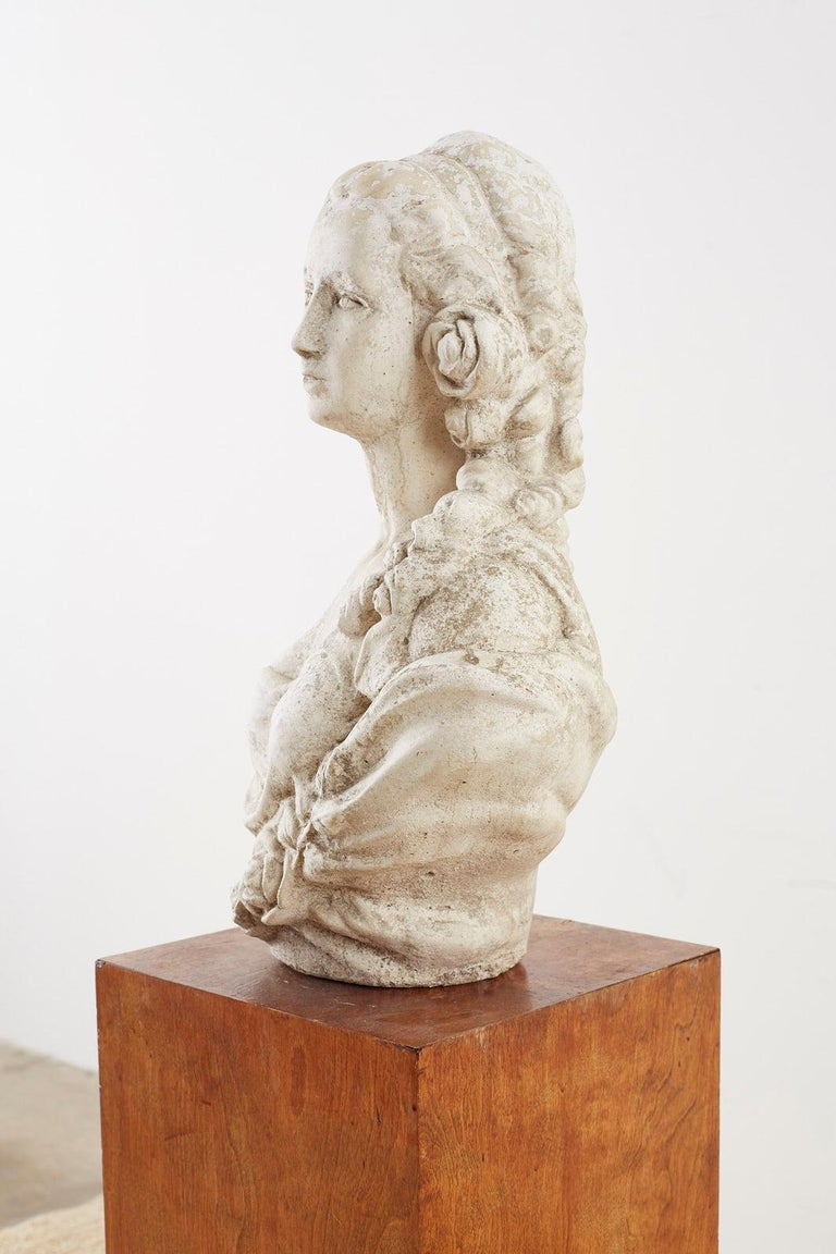 Cast Stone Garden Bust Sculpture of Marie Antoinette For Sale 5