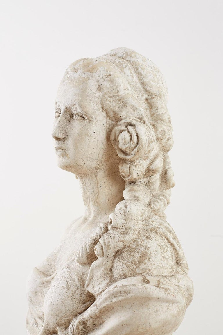 Cast Stone Garden Bust Sculpture of Marie Antoinette For Sale 6