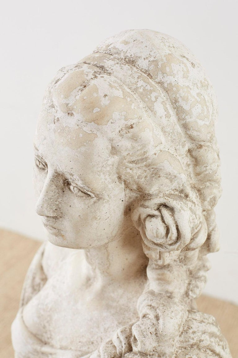 Cast Stone Garden Bust Sculpture of Marie Antoinette For Sale 7