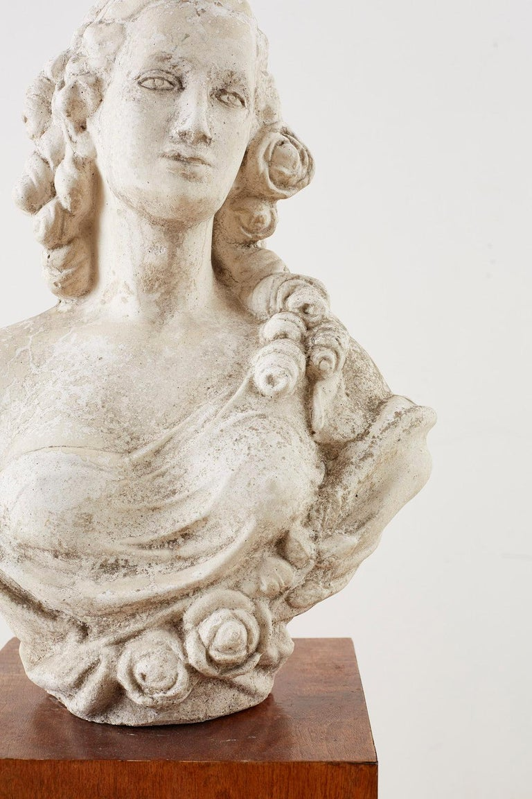 Cast Stone Garden Bust Sculpture of Marie Antoinette In Good Condition For Sale In Oakland, CA