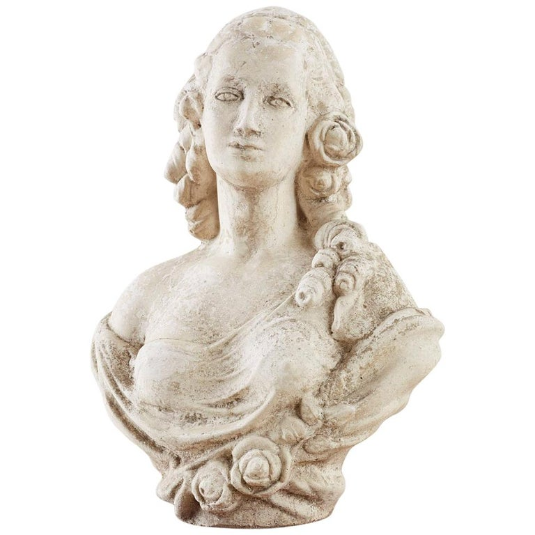 Cast Stone Garden Bust Sculpture of Marie Antoinette For Sale