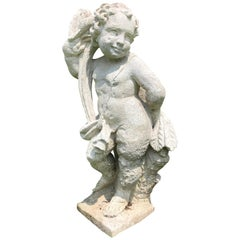 Cast Stone Garden Figure Of Cherub