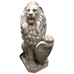 Cast Stone Lion with Shield