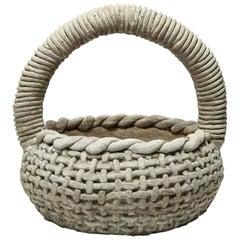 Cast Stone Organic Modern Twist Handle Garden Sculpture Planter Basket, 1970s