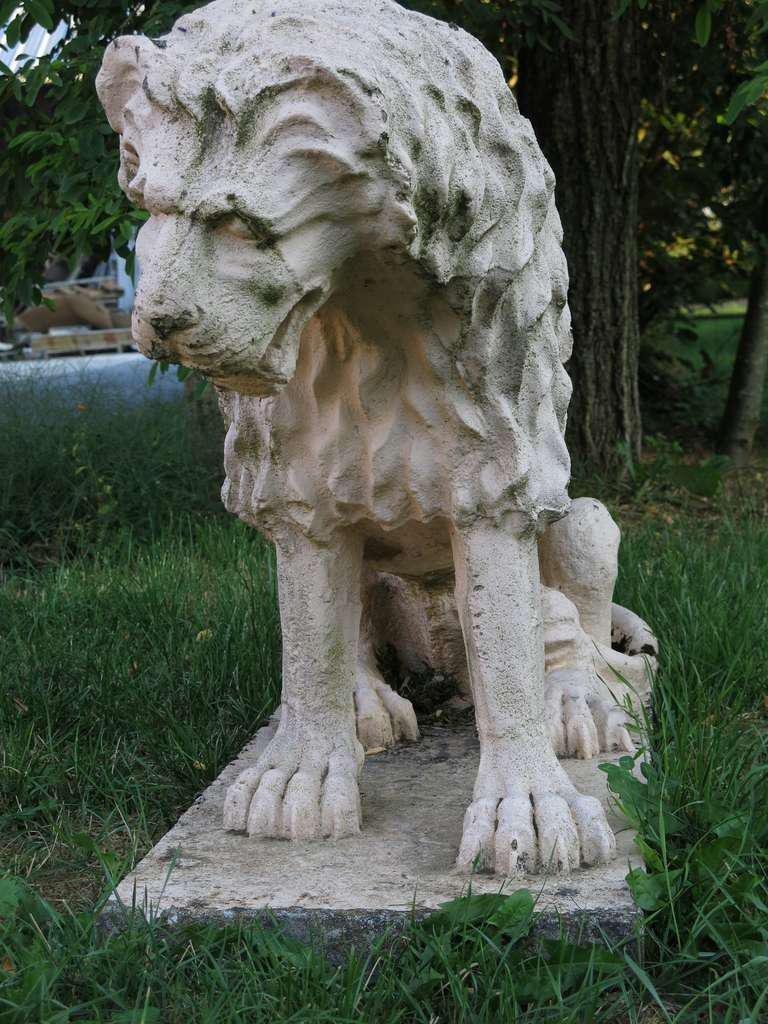 French Cast Stone Renaissance Lion, Weathered White Antonio Canova Style, 1900s