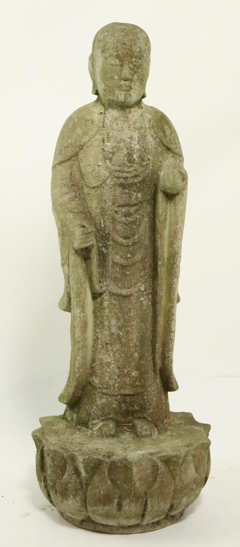 Unknown Cast Stone Standing Tibetan Buddha For Sale