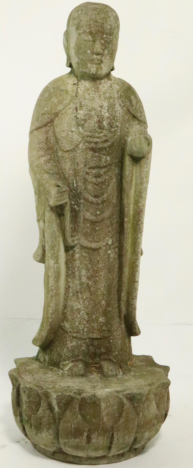 Cast Stone Standing Tibetan Buddha In Good Condition For Sale In New York, NY