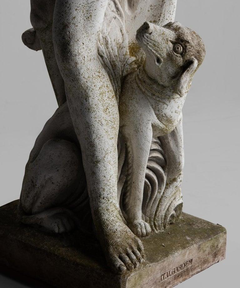 Cast Stone Statue of a Hunter, England, circa 1950 For Sale 1