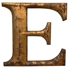 Cast Zinc Aluminum Alloy Gilt Marquee Letter E