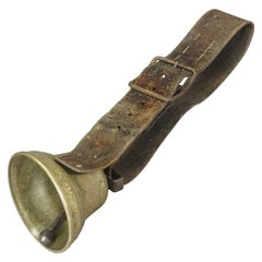 Casted Bronze Cow Bell with Leather Strap, Switzerland, Ca. 1900