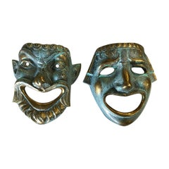 Casted Bronze Roman Style Theater Mask Wall Art, Pair