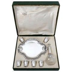 Castel French Silver Liquor or Aperitif Service 8 Pc with Original Box