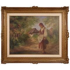 Castellani 20th Century Oil on Canvas Italian Signed Landscape Painting, 1920