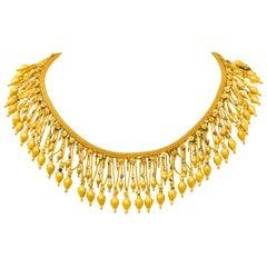 Castellani Etruscan Revival Enamel 18 Karat Gold Fringe Melos Necklace C. 1860s
