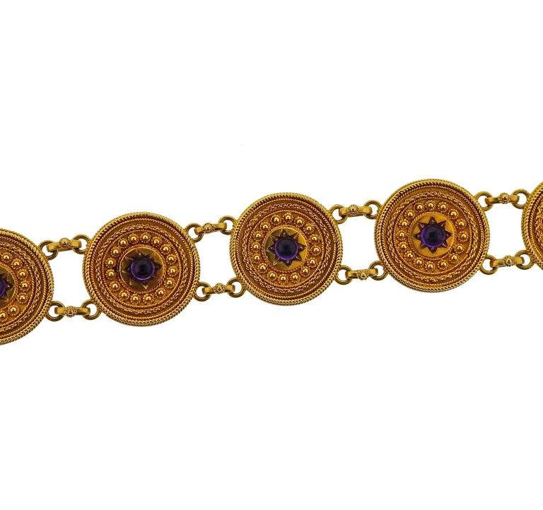 Women's Castellani Gold Amethyst Etruscan Beaded Bracelet For Sale