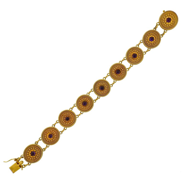 Castellani Gold Amethyst Etruscan Beaded Bracelet For Sale