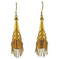 Castellani Gold Tassel Drop Earrings