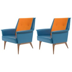 Castelli Signed Midcentury Pair of Armchairs Original Orange-Bleu Upholstery