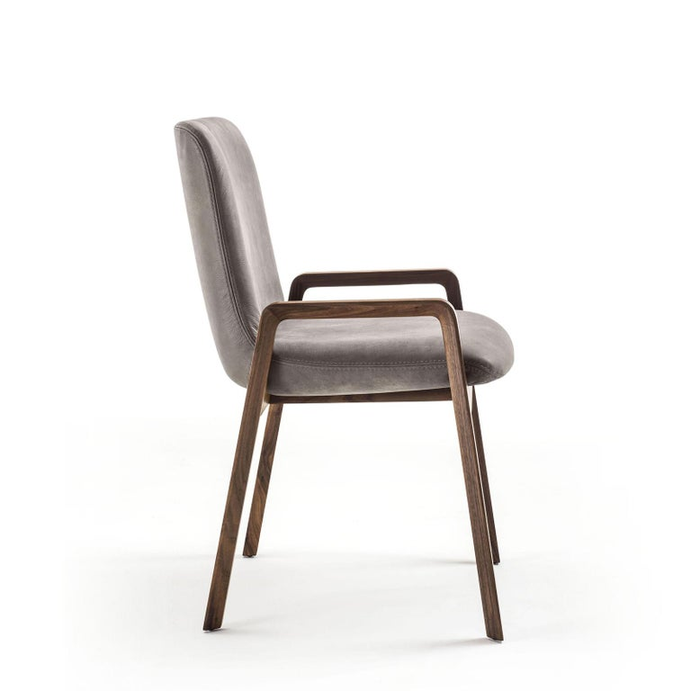 Chair Castello with structure in solid walnut wood,