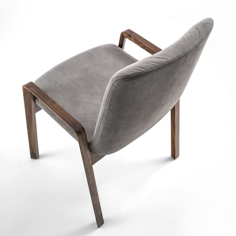 Contemporary Castello Chair in Solid Walnut Wood For Sale