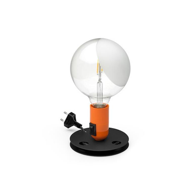 Castiglioni Modern Decorative LED Table or Desk Lamp in Orange & Black for FLOS