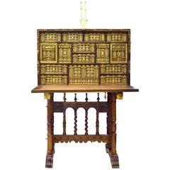 Castilian Bargueño Desk with Support, After Baroque Models, 19th Century