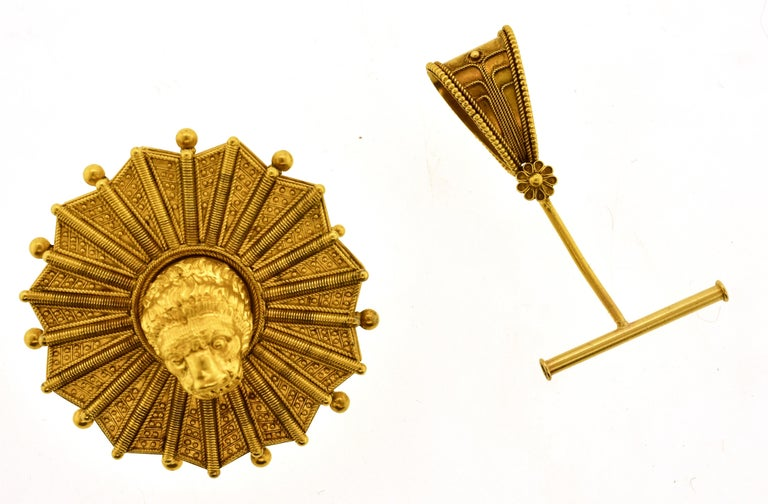 Castillani Etruscan Revival Pendant or Brooch and Matching Earrings, circa 1860 For Sale 6