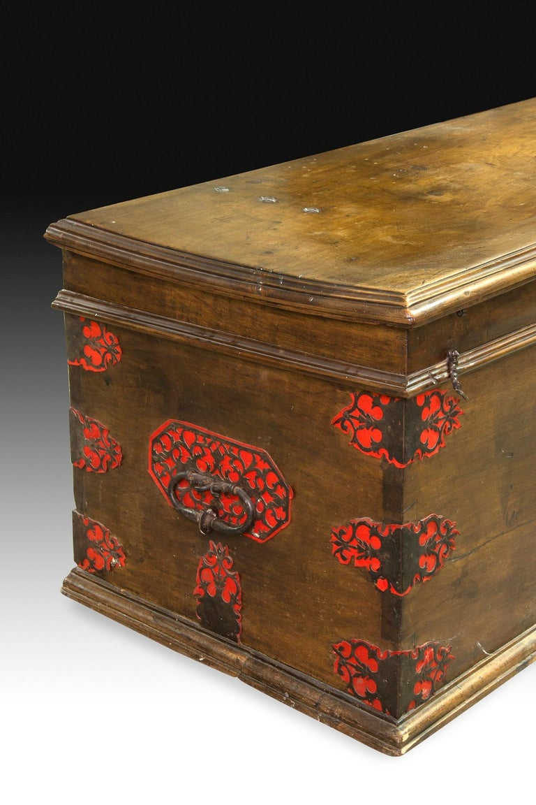 18th Century and Earlier Castillian Chest, Walnut, Textile, Wrought Iron, Spain, 17th Century For Sale