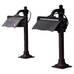 Castiron Pre-War Industrial Desk Lamps, France