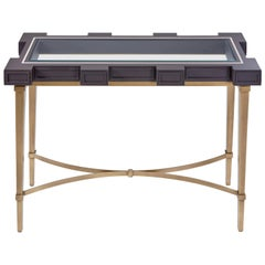 Castle Console, Tapered Legs Accented with Metal Detailing and Glass Top Console