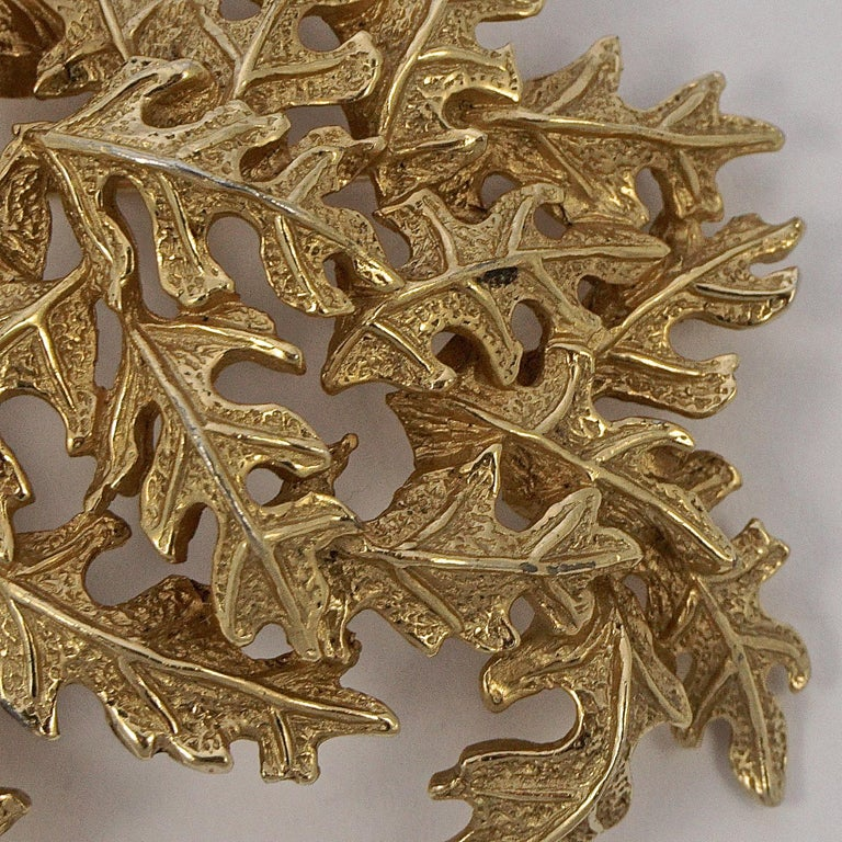 Castlecliff Gold Plated Leaves Statement Brooch In Good Condition For Sale In London, GB
