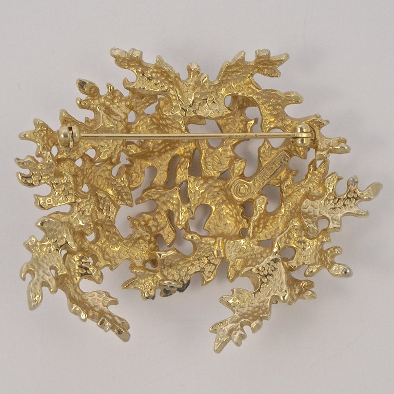Women's or Men's Castlecliff Gold Plated Leaves Statement Brooch For Sale