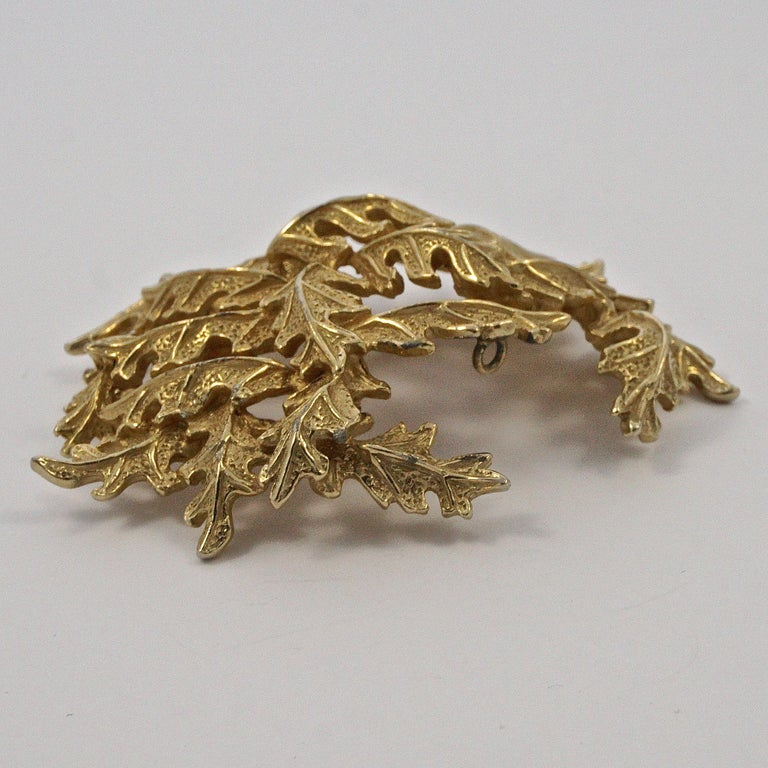 Castlecliff Gold Plated Leaves Statement Brooch For Sale 2