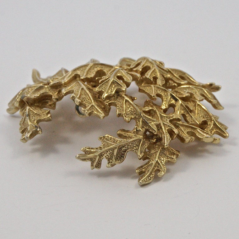 Castlecliff Gold Plated Leaves Statement Brooch For Sale 3