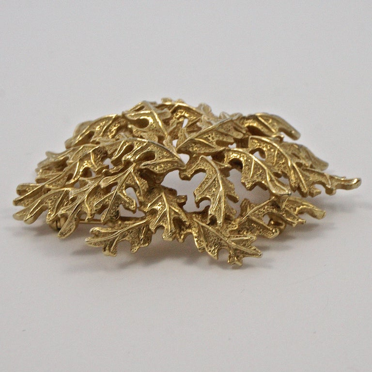 Castlecliff Gold Plated Leaves Statement Brooch For Sale 4