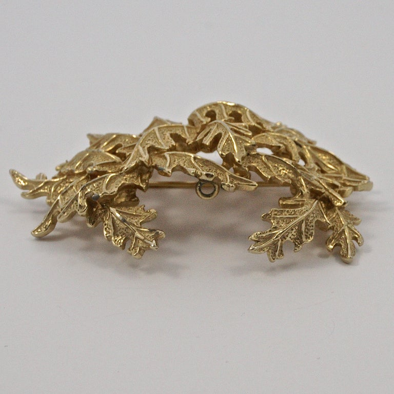 Castlecliff Gold Plated Leaves Statement Brooch For Sale 5